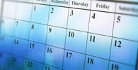 Close-up of a blue calendar